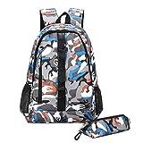 スクールバッグBookbag | ガールズボーイズトラベルバックパック子供用バッグキッズアブラソコムツMochila、オレンジのために迷彩ナイロンバックパック大容量スクールバッグ