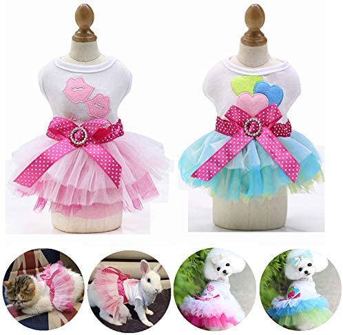 Yikeyo Set of 2 Dog Dress for Small Dog Girl Yorkie Chihuahua Clothes Pet Puppy Lace Tutu Vest product image