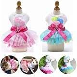 Yikeyo Set of 2 Dog Dress for Small Dog Girl Yorkie Chihuahua Clothes Pet Puppy Lace Tutu Vest Skirt Dog Princess Costume Clothing (Green + Pink, X-Small)