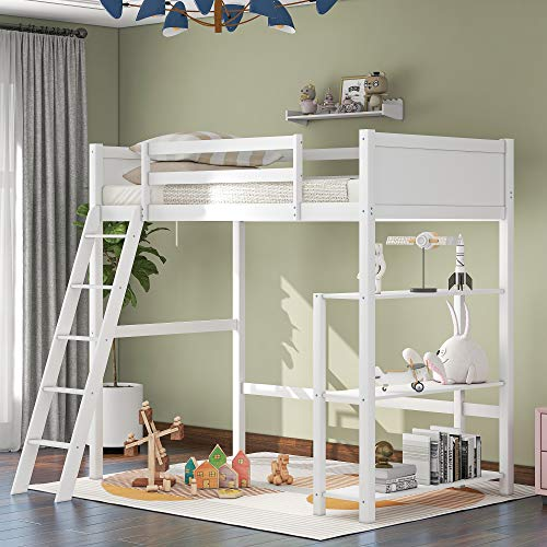 Wooden Twin Size Loft Bed, Wooden Loft Bed with Storage Shelves and Ladders, Space-Saving Design, No Spring Needed (White with Storage Shelves)