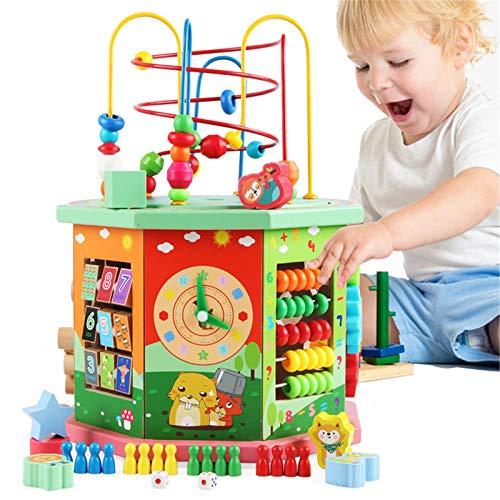 TWFY Juguete Educativo de Lad Maze Bead Maze Shape Sorter Educational Development Toy Regalo para niños Cubo de Actividad de Madera (Color : Multi-Colored, Size : One Size)