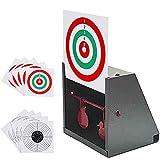 GearOZ BB Trap Target, Paper Target and Resetting Metal Silhouettes Shooting Targets for Pellet Gun Airsoft BB Gun Grey