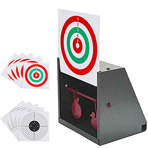GearOZ BB Trap Target, Paper Target and Resetting Metal Silhouettes Shooting Targets for Pellet Gun Airsoft BB Gun Grey