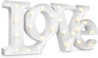 Navaris lámpara LED con el simbolo LOVE - letras de iluminación a batería - retro LEDs decorativas en blanco calído - para...