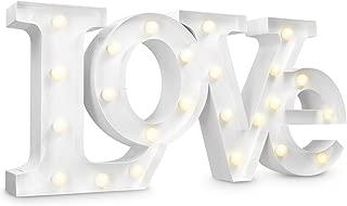 Navaris lámpara LED con el simbolo LOVE - letras de iluminación a batería - retro LEDs decorativas en blanco calído - para sala y cocina