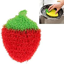 QGT Home Tools Cute Strawberry Dishcloth Polyester Fiber Dishrag Washing Cloth Clean Towel Home Kitchen Cleaning Tools(Yel...