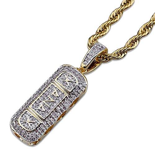 MCSAYS Halskette mit Anhänger Hip-Hop Zirkonia vergoldet XANAX