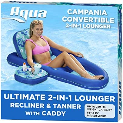 Aqua Campania Ultimate 2 in 1 Recliner Tanner Pool Lounger with Adjustable Backrest and Caddy product image
