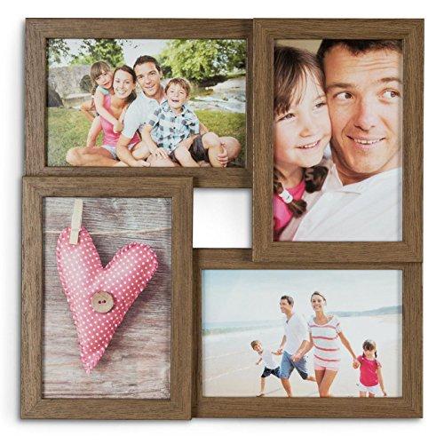levandeo Holz Bilderrahmen B x H: 28x28cm Farbe: Nussbaum braun 4 Fotos Format 10x15cm mit Glasscheiben