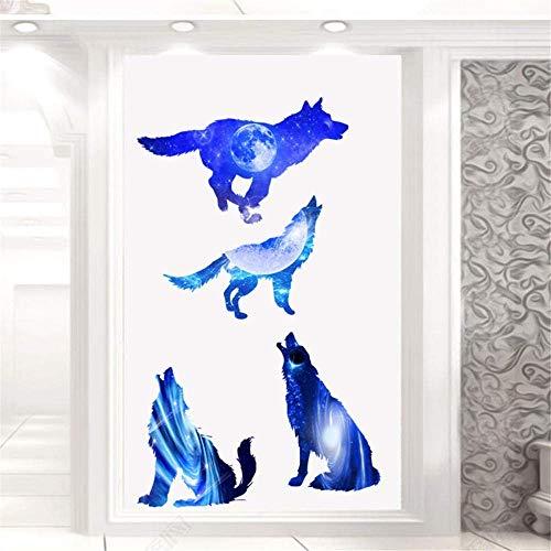3D Blue Star Wolf 2 Pc/Vinilos Decorativos Con Planetas, Vinilos Estrellados, Murales, Murales, Vinilos Decorativos, Vinilos Decorativos