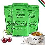 BOCCA DELLA VERITA - Café Italiano en Grano, Aroma CHERRY DECAFFEINATO SUPERIORE, 3 Paquetes de 1 Kg, Café Tostado de forma Natural y Artesanal 100% Made in Italy, Certificación Rainforest e UTZ