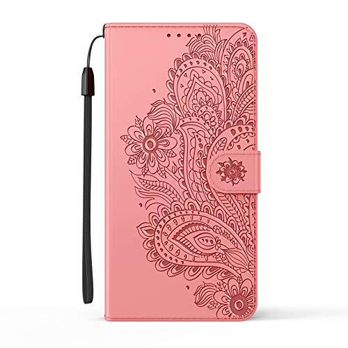 LORMI Funda Huawei Y7a,Funda Protectora de Cuero PU con Cáscara de TPU, Cartera Flip Folio Phone Cover Case con Soporte/Ranura para Tarjeta/Cierre Magnético-Rosa