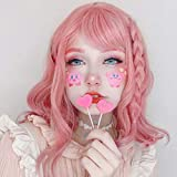 AISI HAIR 14 Inches Short Light Pink Wavy Bob Cosplay Costume Wig for Women with Air Bangs Synthetic Hair Wigs Pink Curly Cosplay Wig Shoulder Length Heat Resisitant Fiber 180 Grams