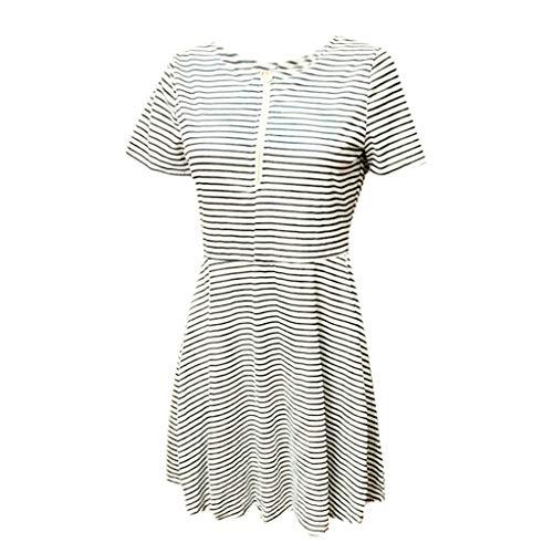 VECOLE Damenoberteile Sommer lässig Rundhals Metall Reißverschluss gestreiftes Mid-Rise Kurzarmkleid Rock Kleiden(Weiß,L)