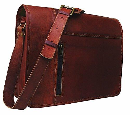 Leather Laptop Messenger Bag Vintage briefcase Satchel for Men and Women- 16 Inch