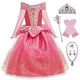 YOSICIL Disfraz Princesa Aurora para Niña Disfraz Bella Durmiente Manga Larga con 6Pcs Accesorio Dulce Princesa Cosplay Vestido para Cumpleaños Halloween Fiesta