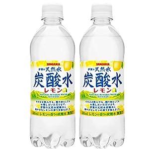 サンガリア 伊賀の天然水 炭酸水 レモン 500ペット 48本セット