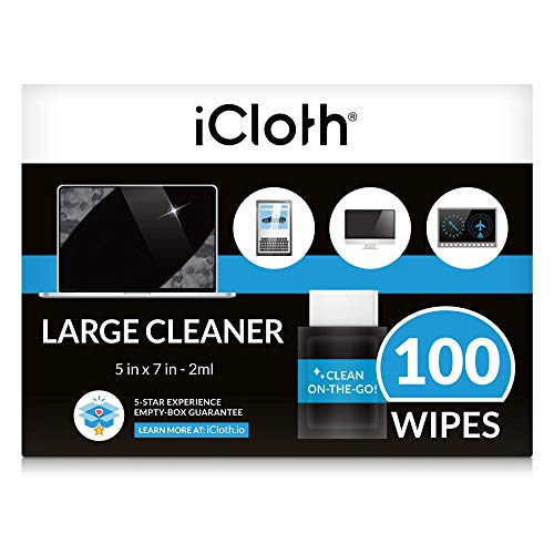 iCloth Large Screen Cleaner Pro-Grade Individual Wipes, 1 Wipe Cleans a Laptop or Desktop Computer - Contains isopropyl Alcohol - Box of 100