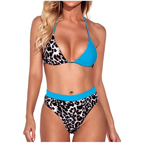 VCAOKF Costume da bagno da donna a righe, con stampa a blocchi di colore riflettenti, con cuciture leopardate, set da 2 pezzi, taglie S/M/L/XL Blu XL