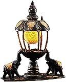 Lámpara de mesa tailandesa arte elefante Tabla ojo cura estilo lámpara, pantalla de bambú de madera esculturas lámpara de escritorio de la lámpara de mesa de la sala de estar clásica