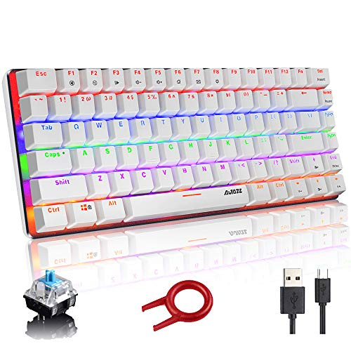 Mechanische Tastatur, AK33 Rainbow LED-USB-Kabel mit Hintergrundbeleuchtung Mechanische Gaming-Tastatur mit 82 Tasten Kompakte Mechanische Tastatur mit Anti-Ghosting-Tasten (Blauer Schalter, Weiß)