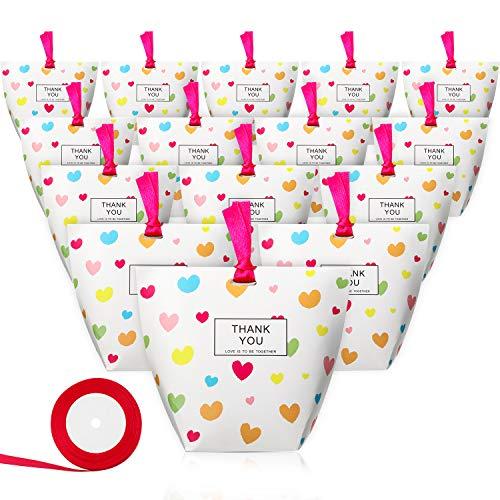 25 Piezas de Pie Bolsas de Papel de Caramelo/Bolsas de Regalo con Un Rollo de Cinta, Caja de Papel Kraft de Comestibles Bolsas de Fiesta con Fondo Plano (Con El Corazón Estampado)