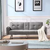 Merax Futon Bed Couch, Modern Sofa Sleeper Design for Living Room or Bedroom, Including Metal Legs and Upholstery Sofabed, Light Grey
