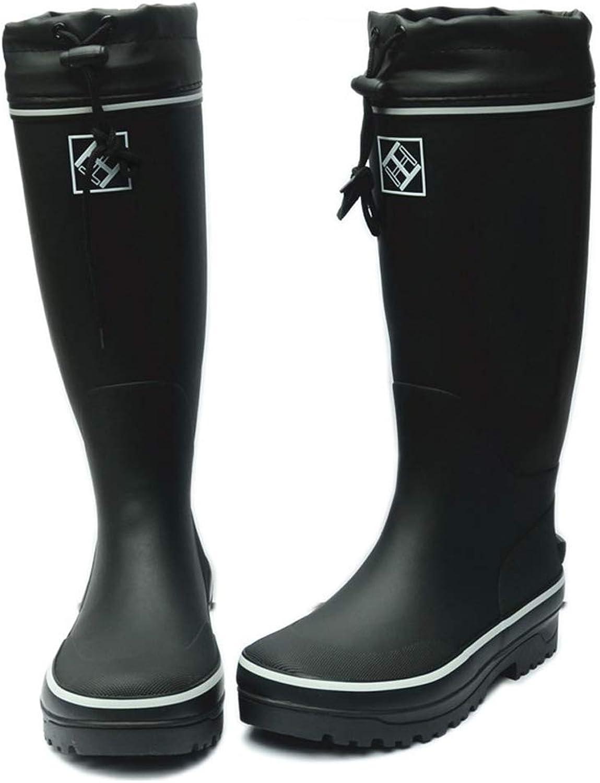 TYX-TT Classic Men'S Rain Boots Super High Tube Rubber Thick Soles Rain Boots Fishing shoes Labor Insurance Gardening shoes Black