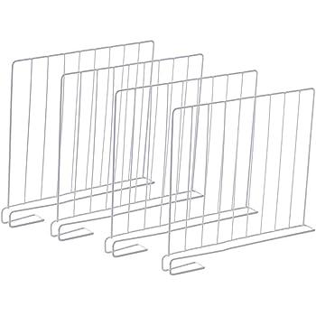 vrsupin0 Separateurs darmoire,S/éparateur d/étag/ère pour Placard,Lot de 4 Set Diviseurs de Plateau s/éparateur d/étag/ère Polyvalent en M/étal pour /étag/ère