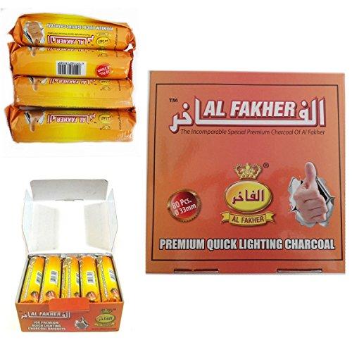 Al-Fakher Alfajer charcoal Carbón de encendido rápido para todas las marcas de shishas. 20 rollos (2 cajas completas)