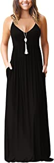 Women's Loose Plain Maxi Dress Casual Flowy Vacation Long Dresses with Pockets