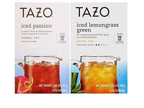 Tazo Iced Tea Pitcher Bag Flavored Teas 2 Flavor Variety Bundle; (1) Tazo Iced Passion Caffeine-Free Herbal Tea, and (1) Tazo Iced Lemongrass Green Tea, 2.85-3.15 Oz. Ea.