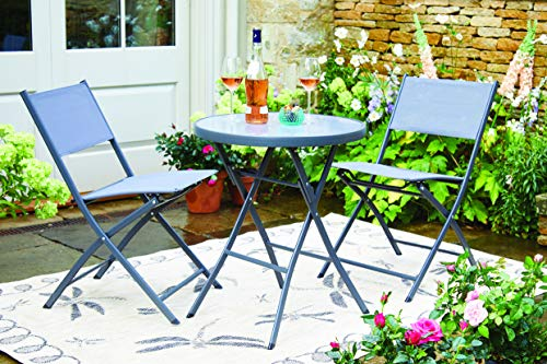 Burwells Compact Foldable Garden Bistro Set, Black - Save space with our super-comfy folding bistro set, perfect for smaller gardens and verandas, lightweight, fold away