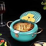 Sartén profunda - Freidora Tempura con termómetro - Tapa y escurridor de aceite, Freidora profunda de acero inoxidable antiadherente para cocina Papas fritas, pescado y camarones