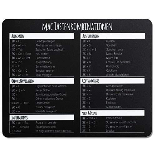 Mauspad mit MAC Tastenkombinationen I 24 x 19 cm I Mousepad in Standargröße, rutschfest I Tastenkürzel Übersicht Shortcuts I dv_675