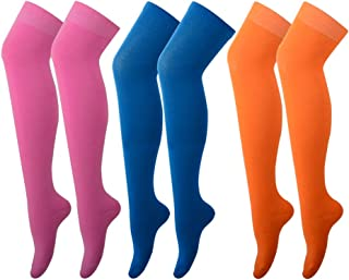 PUTON Women's Over the Knee Thigh High Cotton Stocking Socks (Pack of 3)