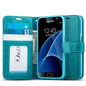 J&D Case Compatible for Galaxy S7 Case [Wallet Stand] [Slim Fit] Heavy Duty Protective Shock Resistant Flip Cover Wallet Case for Samsung Galaxy S7 Wallet Case - Aqua