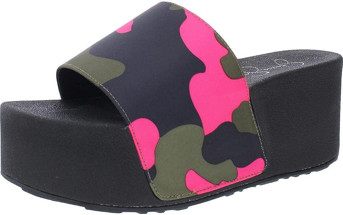 Jessica Simpson Women's Faille Metallic Slip On Platform Wedge Sandal