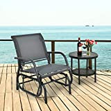 CASART Outdoor Glider Chair, Garden Swing Chair with Sturdy Steel Frame, Single Seat Glider Rocking Chair for Patio, Backyard and Poolside (Grey)