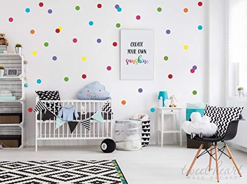 2 pegatinas de pared de lunares de arcoíris para pegar y despegar calcomanías de confeti de color arcoíris paquete de 7 colores