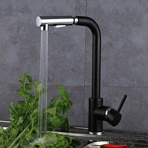 Küchenarmatur Ausziehbar Schwarz Armatur 360° Drehbar Wasserhahn Einhebelmischer Spültischarmatur Mischbatterie