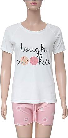 Loungewear Set For Women - White shirt pink short