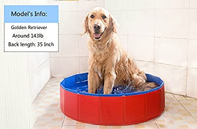 NEWSTYLE Dog Bathing Tub - Foldable Small Pet Dog Cat Swimming Pool Bathtub Washer - 32inch.D x 8inch.H