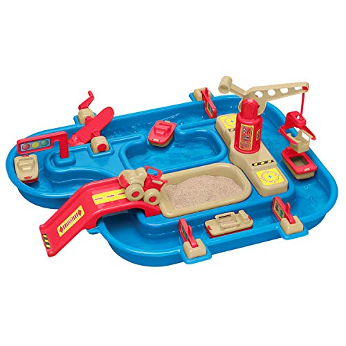 American Plastic Toys Kids' Sand and Water Playset, One-Piece Industrial Waterway with Wave Maker...