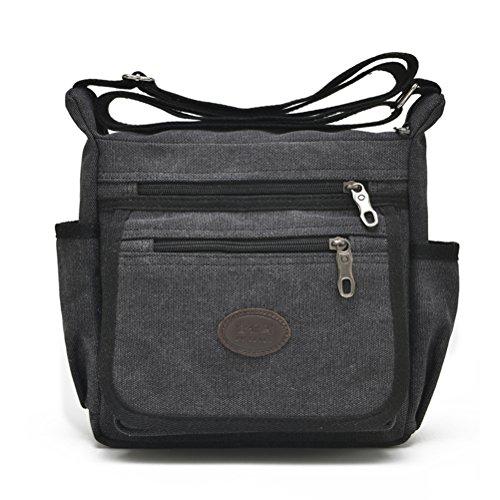 Qflmy Vintage Retro Canvas Messenger Bag Crossbody Shoulder Bag (Black)