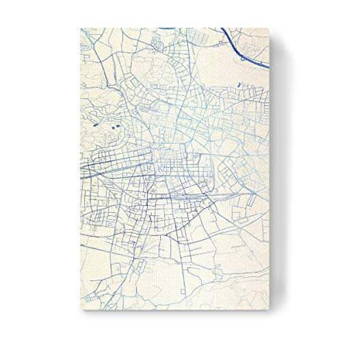 artboxONE Leinwand 60x40 cm Städte Klagenfurt-am-Wo?rthersee O?sterreich Blue Infusion Map II von Makadi Atatu