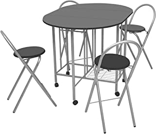 vidaXL Five Piece Folding Dining Table and Chair Set Kitchen Furniture MDF Black