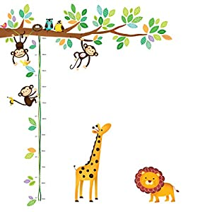 DECOWALL DW-1402 Little Monkeys Tree and Animals Height Chart Kids Wall Stickers Wall Decals Peel and Stick Removable Wall Stickers for Kids Nursery Bedroom Living Room décor
