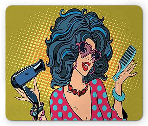 Trucco Mouse Pad, Pop Art Hippie Young Lady con Polka Dots Top Hipster Occhiali da sole Comic Illustration, Rettangolo in gomma antiscivolo Mousepad, Standard Multicolor