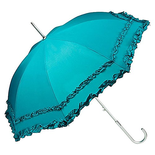 VON LILIENFELD Regenschirm Damen Mode Sonnenschirm Brautschirm Hochzeitsschirm Mary-Poppins-Schirm Automatik Mary mit Rüschen smaragdgrün